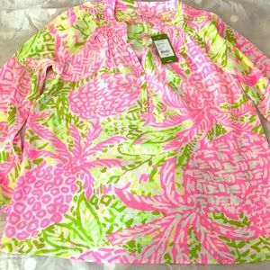NWT Lilly Pulitzer Elsa Top Pink Sunset Size S